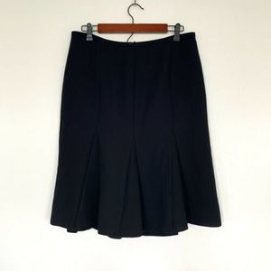 Talbots Black Ruffle Bottom Pleated Skirt